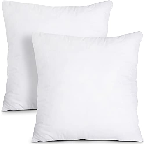 Utopia Bedding Cushion Inner Pads (Pack of 2) - Cushion Stuffer - Cotton Blend Cover - Hollowfibre Square Pillow Inserts (Set of 2, White) (45 x 45 cm)