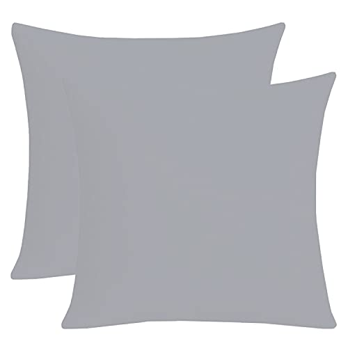 Homely Ideas Cushion Covers 35x35 cm 100% Polycotton Pack Of 2 Decorative Cushion Covers Plain Dyed Easy care Bedding & Linen. (Grey, 35x35cm)