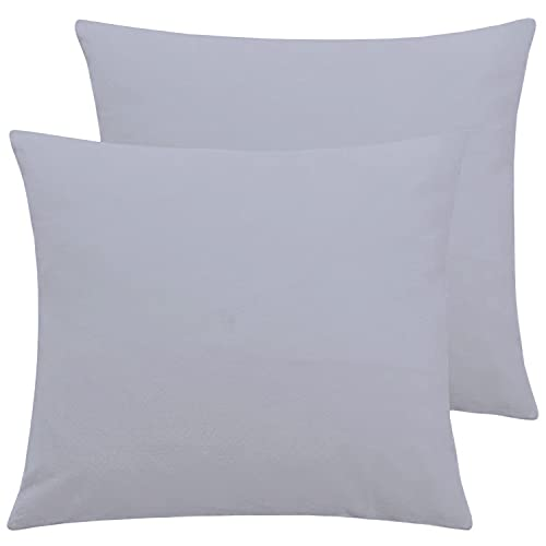 Flexible Cushion Covers Pack of 2 Poly Cotton Plain Cushions Cover for Home Decor 40 x 40 CM Throw Pillow Cases (Grey)