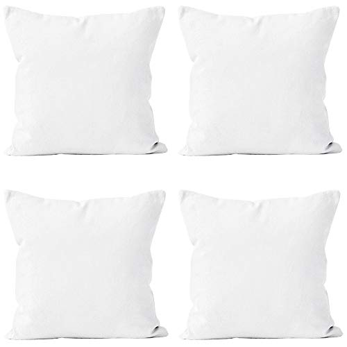 Encasa Homes Throw Pillow Covers 16 x 16 inch - Sublimation Blank White 4 pc Pack with Invisible Zipper - Soft Polyester Twill Cushion Cases, suitable for DIY, Digital Printing & Painting