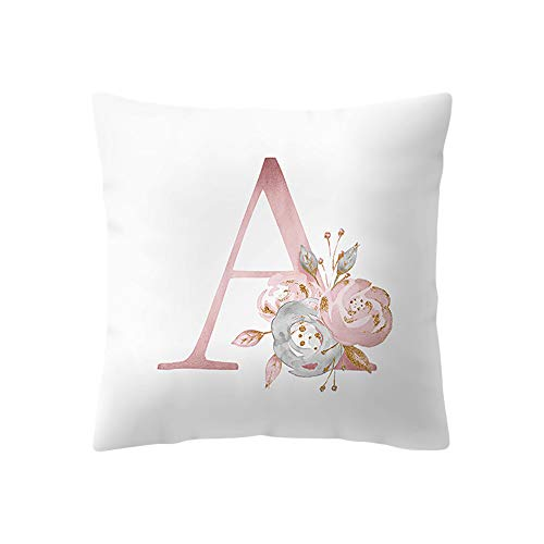 Watopi Pink Soft Pillowcase, Alphabet Letter Cushion Cover, Personalised Floral Print Throw Pillow Cover, 45 x 45cm 1 PC, for Bed Sofa Home Décor, (A)