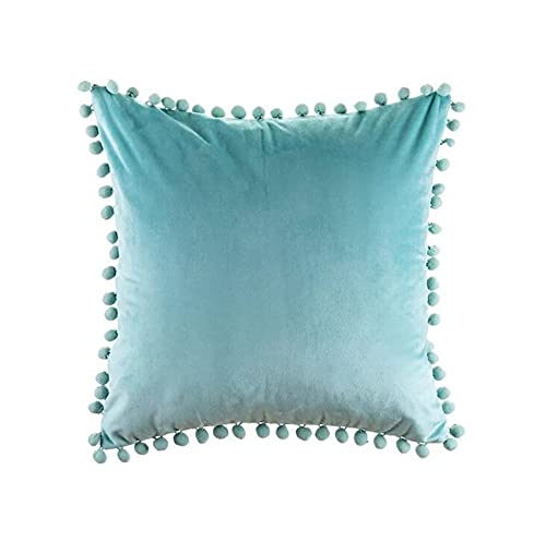 Topstylehouse 2 PCS Pom Pom Crushed Velvet Cushion Covers, Home Decorative Pillow Cases, 45x45cm Throw Pillowcases for Sofa Chairs Bed Kids with Invisible Zipper (Blue)