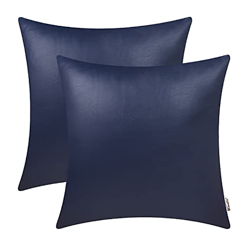 BRAWARM Pack of 2 Cozy Navy Blue Faux Leather Cushion Covers Cases, Soft Leather Throw Pillow Covers Cases 45cm x 45cm, for Couch Sofa Home Decoration.