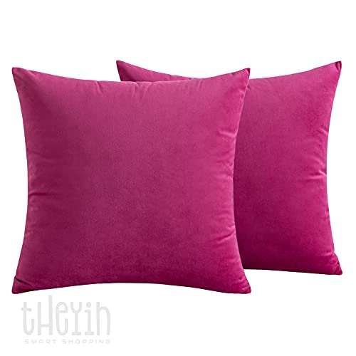 THEYIN smart shopping Pack of 2 Velvet Soft Square Throw Pillow Case Cushion Covers Luxury Pillowcases for Sofa Bedroom Livingroom 18x18 Inch 45x45cm throw pillow case (Pink)