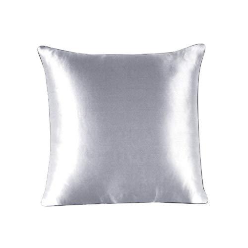 townssilk Both Side 100% 19mm Silk Pillowcase 40x40cm size Pillow Case Cover with Hidden Zipper Silver