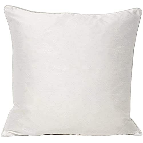 Riva Paoletti Fiji Cushion Cover - White - Faux Silk - Matching Piped Edges - Reversible - Hidden Zip Closure - 100% Polyester - Machine Washable - 43 x 43cm (17' x 17' inches)