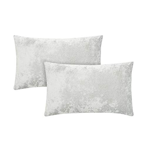 Amazon Brand – Umi Crushed Velvet Cushion Cover 2 Pack 30x50cm Soft Luxurious Square Throw Pillow Cover Decorative Pillowcase for Sofa Couch Bed Office (Light Grey)