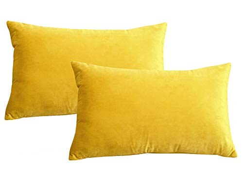 Lutanky Velvet Cushion Covers (Pack of 2) Lovely Rectangle Throw Pillow Cases Soft Solid Decorative Pillow Covers for Sofa Bedroom Car 12x20 Inch 30 x 50 cm (dark yellow, 2 pieces)