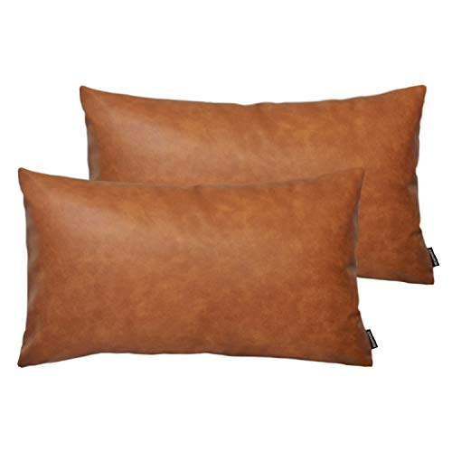HOMFINER Set of 2 Thick Faux Leather Lumbar Throw Pillow Covers 12x20, Modern Farmhouse Boho Small Long Accent Scandinavian Decor Rectangle Decorative Cushion Cases for Couch Bed Sofa Cognac Brown