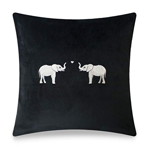 Elephants Embroidered Cushion Cover (size: 45 x 45 cm)