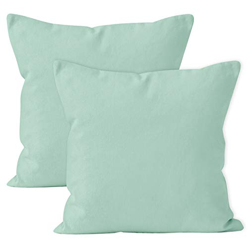 Encasa Homes Cushion Covers 2pc set (40 x 40 cm) - Mint Green - Solid Dyed Cotton Canvas, Decorative Large Square Colourful Washable Throw Pillow Cases for Living Room, Sofa, Bedroom, Home & Hotel