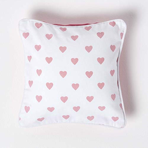 HOMESCAPES - 100% Cotton - Love Hearts - Cushion Cover - 30 x 30 cm Square - 12 x 12 Inches - Pink White - 100% Cotton Sofa Pillow Cushion Cover - Washable