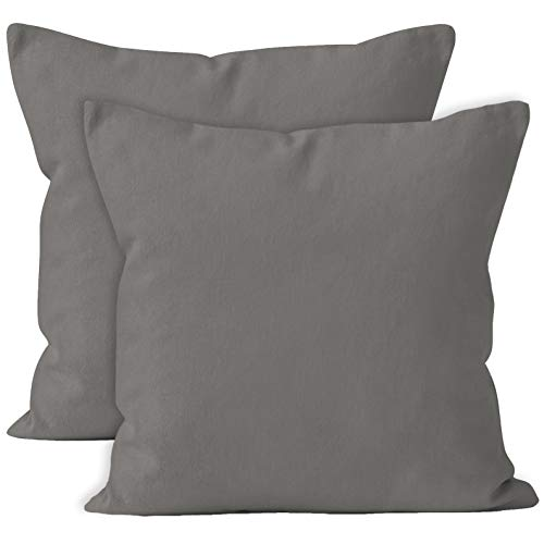 Encasa Homes Cushion Covers 2pc set (60 x 60 cm) - Grey - Solid Dyed Cotton Canvas, Decorative Large Square Colourful Washable Throw Pillow Cases for Living Room, Sofa, Bedroom, Home & Hotel