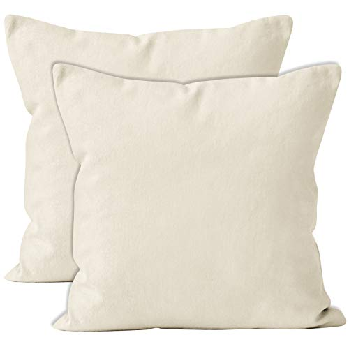 Encasa Homes Cushion Covers 2pc set (40 x 40 cm) - Natural - Solid Dyed Cotton Canvas, Decorative Large Square Colourful Washable Throw Pillow Cases for Living Room, Sofa, Bedroom, Home & Hotel
