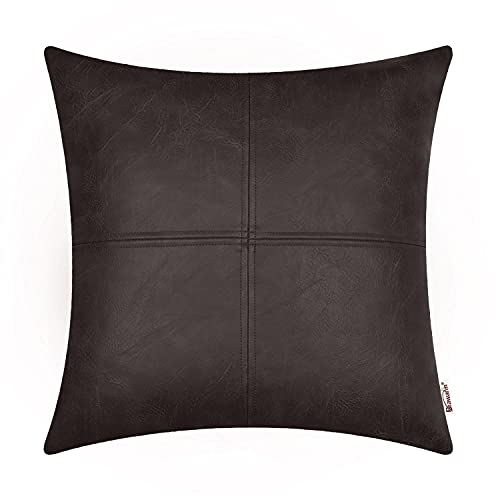 Brawarm Faux Leather Throw Pillow Covers, Moden Boho Leather Pillow Covers Cases, Decorative Pillows Couch for Living Room Garden Bed Sofa Chair 45cm x 45cm Coffee