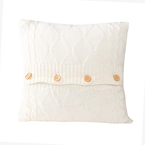 iSpchen Knitted Throw Pillow Covers Lightweight Pillowcase Home Living Room Decor Sofa Available Vintage European Style Button Cushion Covers Square 45x45cm,18'x18' White