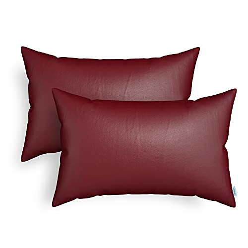 CaliTime Throw Pillow Cases Pack of 2 Modern Solid Dyed Soft Faux Leather Decorative Cushion Covers Shells for Couch Sofa Bedroom 12 X 20 Inches Burgundy