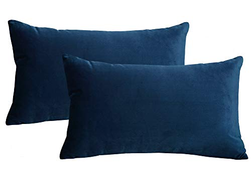 Lutanky Velvet Cushion Covers (Pack of 2) Lovely Rectangle Throw Pillow Cases Soft Solid Decorative Pillow Covers for Sofa Bedroom Car 12x20 Inch 30 x 50 cm (navy blue 1, 2 Pieces)