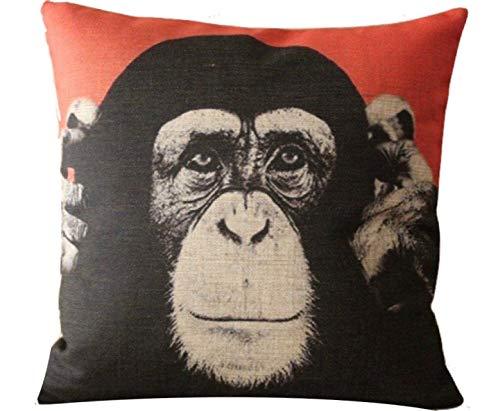 The Beach Stop Creative Chimpanzee Printed Cushion Covers (Chimp Orange)