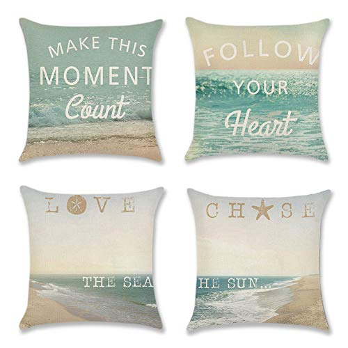 Artscope Decorative Soft Cotton Linen Cushion Covers for Sofa Car 45 x 45 cm Square Throw Pillow Covers Pillowcases with Invisible Zipper 4 Pack (Beach)