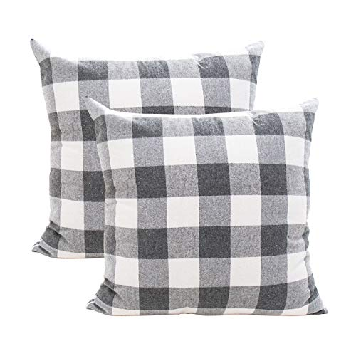 GreatforU Buffalo Check Plaids Throw Pillow Case Cushion Cover Holiday Decorative Home Decor Cotton Linen for Living Room Bedroom Sofa Couch Office Chair Car Cafe, 18 x 18 inch, 45 x 45cm, Set of 2
