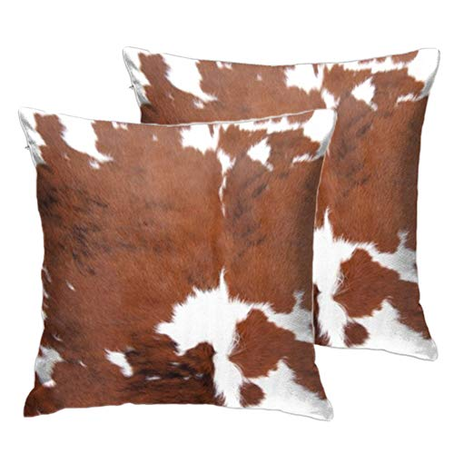 2 Pcs Cowhide Throw Pillow Covers Decorative Pillow Cases Farm Animal Brown Cow Hide Skin Print Pillow Case 18 X 18 Inch Velvet Square Cushion Cover for Sofa Bedroom