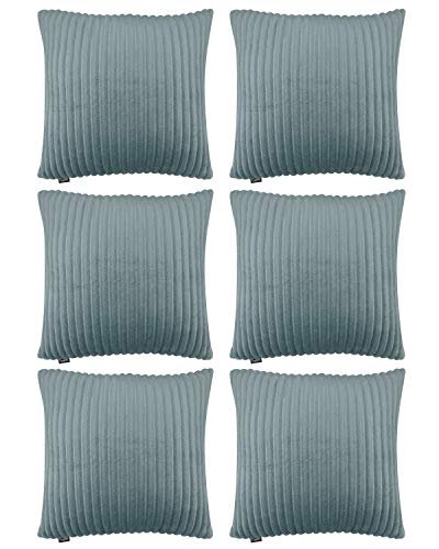 6 Pack Decorative Pillow Case Striped Flannel Velvet Throw Pillow Covers Soft Soild Pillowcase Cushion Cover Cushion Cases for Sofa Bedroom Car (Mirage Gray, 18x18in/45X45cm)