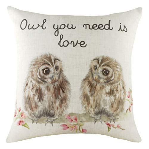 Evans Lichfield Hedgerow Owls Cushion Cover, Multi, 43 x 43cm
