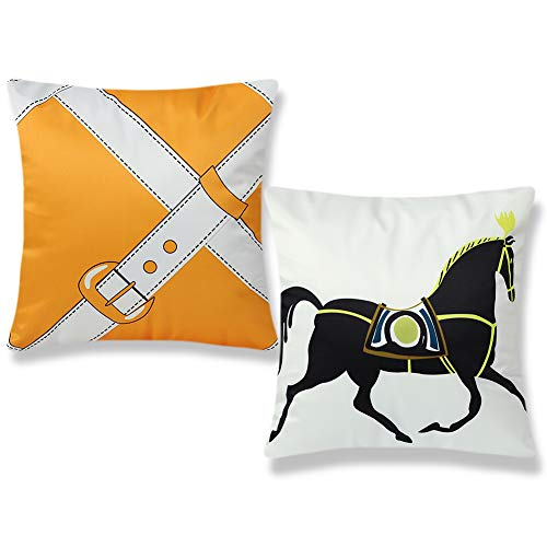 Artscope Cushion Covers 2 Pack, Simulated Silk Pillow Covers Decorative Pillowcases with Invisible Zipper for Sofa Car Living Room, 45 x 45 cm (Black Horse on White)