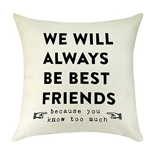 Decorative Cushion Cover Friend Quotes Friendship Gifts Christmas Birthday Graduation for Best Friends Sister Linen Throw Pillow Cover Case Pillowcase for Sofa Car Bedroom Office Square 18' x 18'