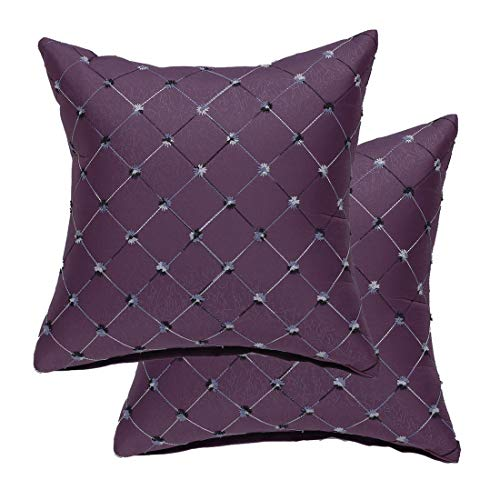 sourcing map Pack of 2 Cushion Covers Throw Pillow Cases Shells for Home Sofa Couch Geometric Embroidered 18 x 18 Inches, Purple