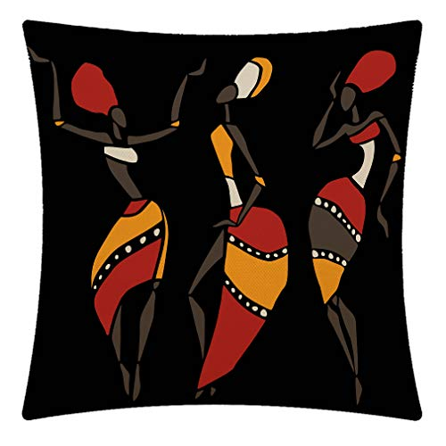 CANSEGO African Dancing Woman in Ethnic Style Throw Pillow Case,Cotton Linen Cushion Cover Square Standard Home Decorative for Sofa Bedroom Men/Women 18x18 Inch