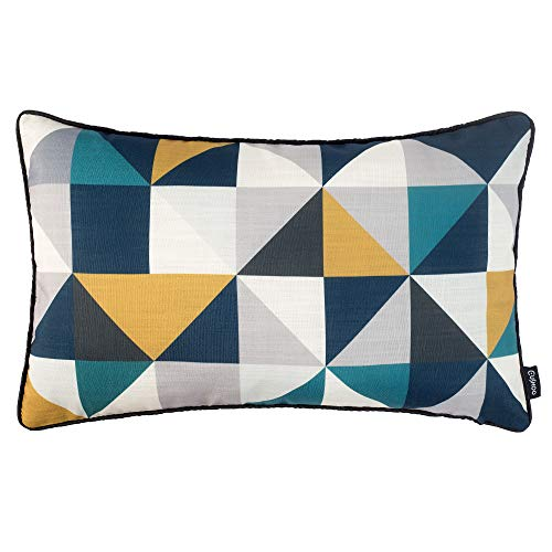 Cushoo Modern Geometric Rectangle Cushion Cover in Mustard Yellow, Navy Blue and Teal | Oblong Decorative Scatter Pillow Covers for Sofa, 30cm x 50cm