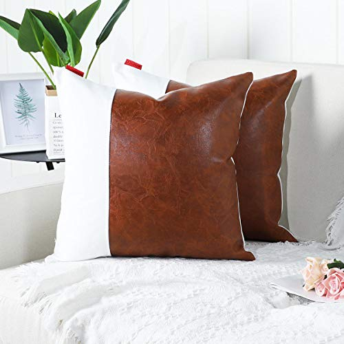 Mandioo Brown White Luxury Boho Decorative Cushion Covers 22x22 Inches Faux Leather and Cotton Farmhouse Throw Pillowcases for Couch Sofa Bed 55cmx55cm,Pack of 2