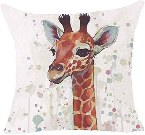 Giraffe Watercolor Ink Dot Artistic Beautiful Sister themed Linen Cushion Cover-Throw Pillow Cover.