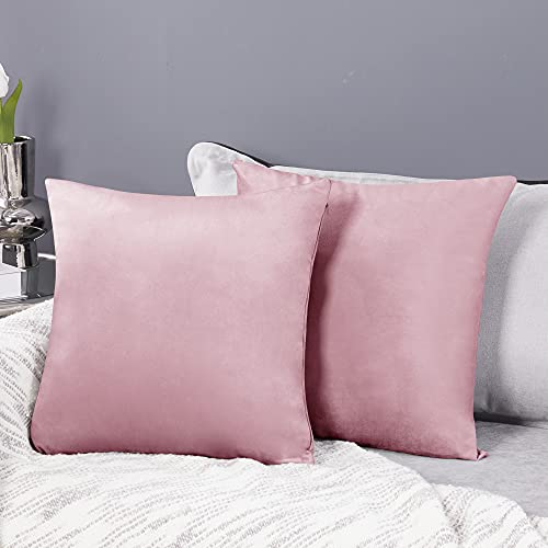 Deconovo Set of 2 Soft Large Crushed Velvet Cushion Covers 60cm x 60cm 24x24 Inches Throw Pillow Cases Square Cushion Covers for Bed with Invisible Zipper Baby Pink 2 Pieces