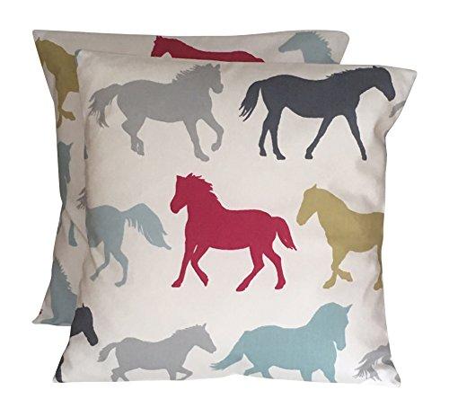 CUSHIONS2U 2 x 16 (40cm x 40cm) Equestrian Horse Horses Bright Pink Blue Grey Lime Green Cushion Covers