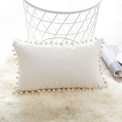 Topfinel Velvet Cushions with Pompoms Plain Cushion Covers Decorative Cushion Cover Pillow Seat Cushion Decorative Cushion Couch Cushion x 1 for Sofa Bedroom Office Car, Velvet, Cream, 30x50cm-1Stk