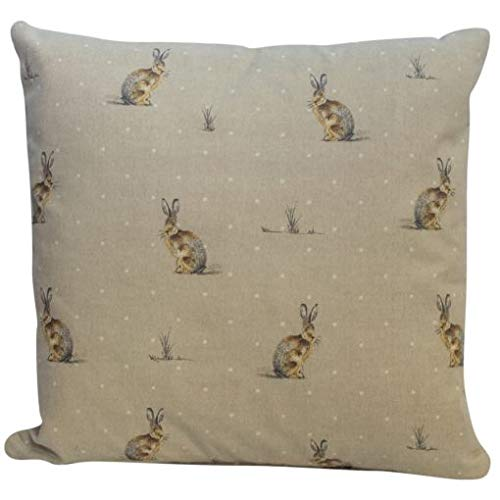 Hares/Rabbits Vintage Style Cushion Cover. 100% Cotton, Handmade Decorative Scatter Pillowcase. Natural Bunnies on a Linen Effect Background.