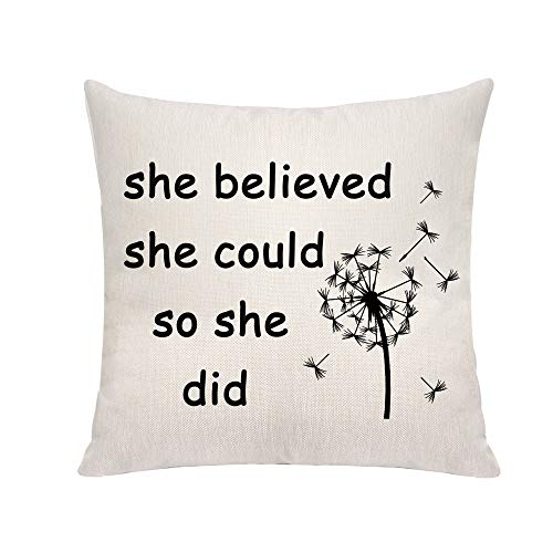 VAVSU Motivational Quote-She Believed She Could So She Did Sofa Bedding Home Decoration Linens Throw Pillow Cases Cushion Covers Gifts for Her