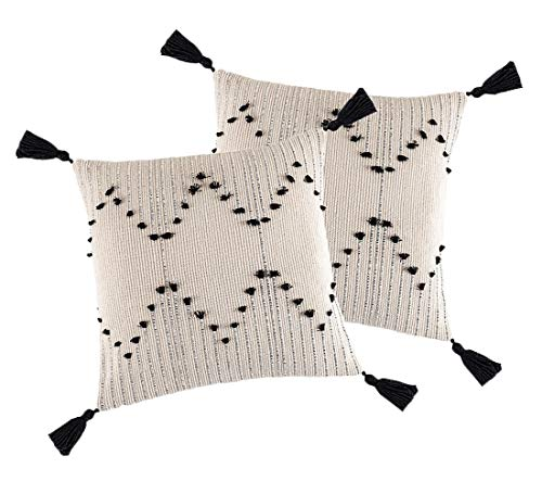 2 Pcs Cushion Covers Boho Throw Pillow Covers with Invisible Zipper 45x45 cm Pillowcases with Tasseled for Home Couch Restaurant Bed, Black and White
