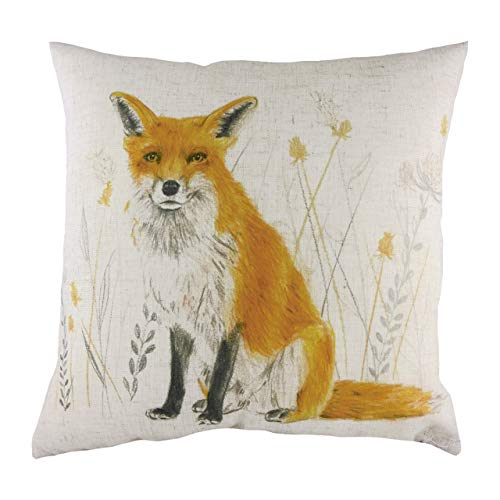 Evans Lichfield Fox Repeat Cushion Cover, White, 43 X 43cm