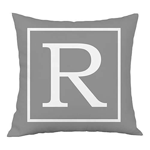 Hangood Alphabet Letter R Cushion Cover 18x18 Soft Plush Throw Pillow Covers 45cm x 45cm R