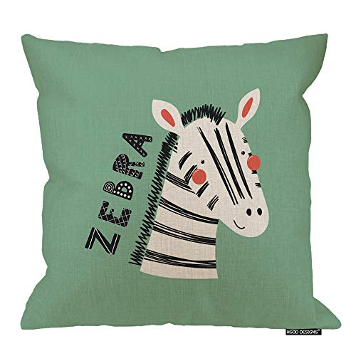 HGOD DESIGNS Zebra Pillow Cover,Cute Funny Scandinavia Zebra Face with Quotes Cotton Linen Cushion Covers Home Decorative Throw Pillowcases 18x18inch