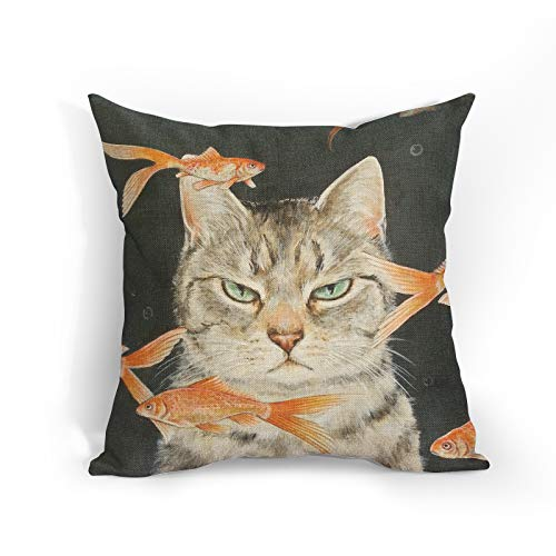 Funny Cat Cushion Covers Unhappy Cat with Goldfish Throw Pillow Covers Cute Pet Decorative Pillowcase Double Sides Pattern 18x18 Decor for Sofa Bedroom Living Room Patio