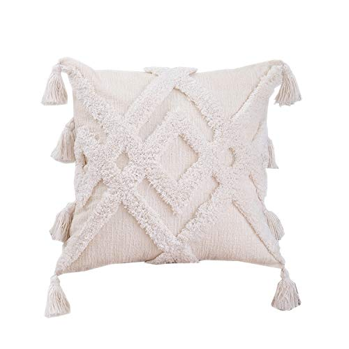 GSDJU pillow covers,housewarming,Mother's Day,Christmas,cars,1pcs Boho Style Cushion Cover Plush With Tassels Cute Circle Moroccan Style Pillow Case Macrame Home Sofa Decorative 45x45cm