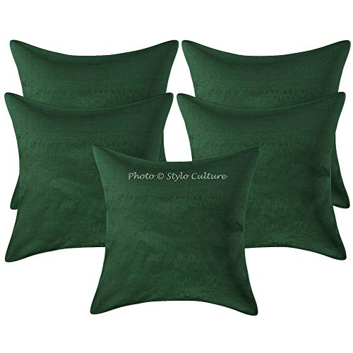 Stylo Culture Indian Cushion Covers 40 x 40cm Set Of 5 Dark Green Solid Colored Polydupion Living Room Throw Pillow Covers Plain 16x16 Pillow Cases