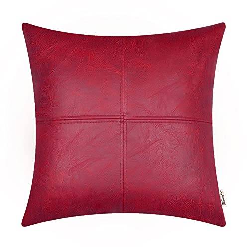 Brawarm Faux Leather Throw Pillow Covers, Moden Boho Leather Pillow Covers Cases, Decorative Pillows Couch for Living Room Garden Bed Sofa Chair 45cm x 45cm Red