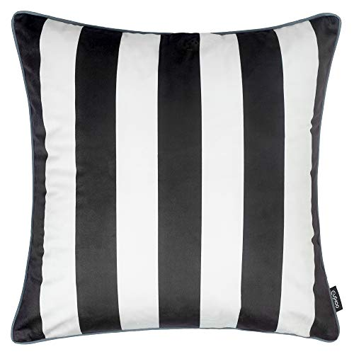 Cushoo Modern Striped Cushion Cover in Black and White, Monochrome | Square Decorative Scatter Pillow Case for Sofa | 45cm x 45cm | 18in x 18in