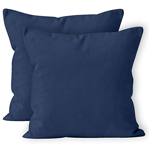 Encasa Homes Cushion Covers 2pc set (40 x 40 cm) - Scotch Blue - Solid Dyed Cotton Canvas, Decorative Large Square Colourful Washable Throw Pillow Cases for Living Room, Sofa, Bedroom, Home & Hotel